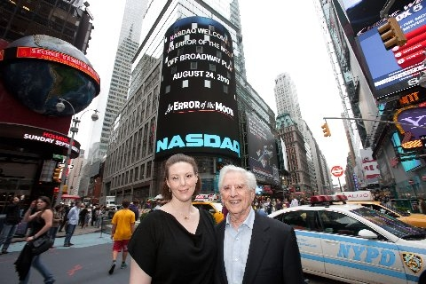 Kim Weild and Playwright Luigi Creatore at AN ERROR OF THE MOON Rings NASDAQ Bell